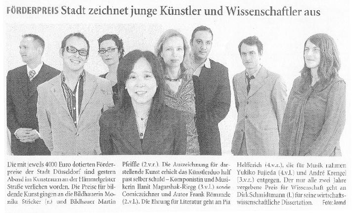 Förderpreis der Landeshauptstadt Düsseldorf_Westdeutsche Zeitung_11.12.2007
