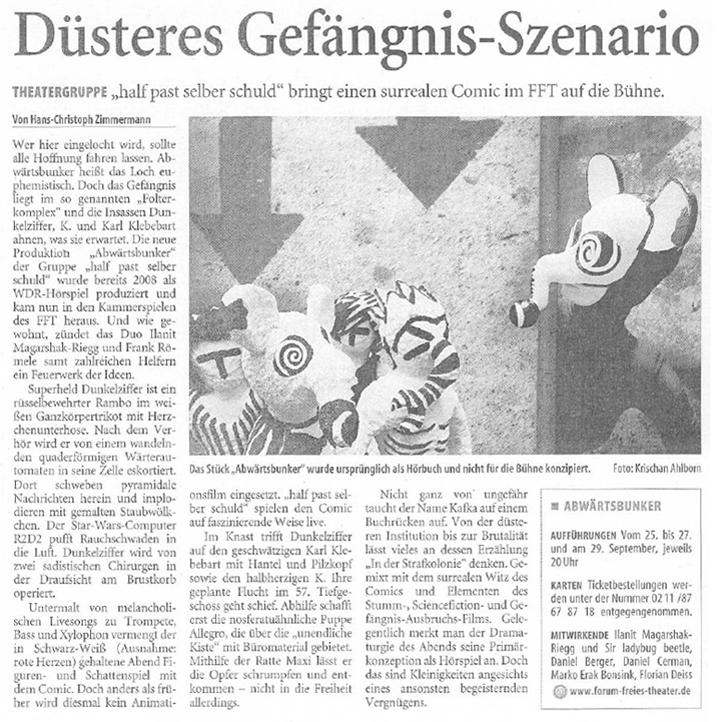 Abwärtsbunker_Westdeutsche Zeitung_24.09.2009