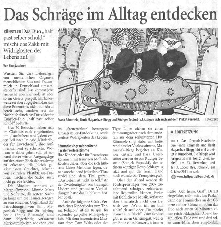 Kinderlieder für Erwachsene_Westdeutsche Zeitung_23.09.2010