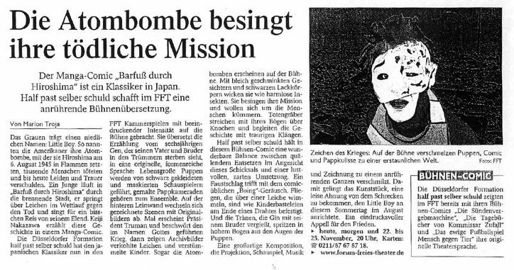 Barfuss durch Hiroshima_Westdeutsche Zeitung_17.11.2006