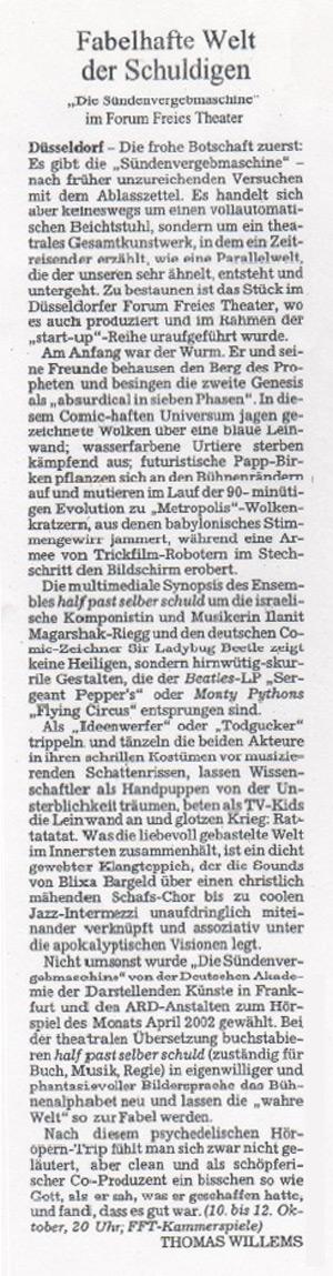 die sündenvergebmaschine_Süddeutsche Zeitung_09.10.2002