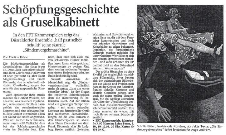die sündenvergebmaschine_Westdeutsche Zeitung_05.10.2002