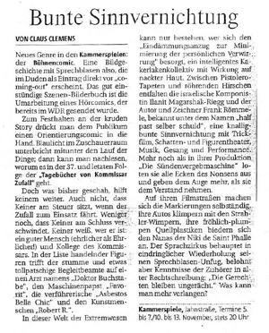 Die Tagebücher von Kommissar Zufall_Rheinische Post_05.11.2004